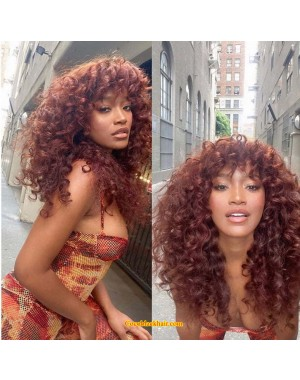 Emily95-Brazailian virgin wanded curl 360 wig with bangs
