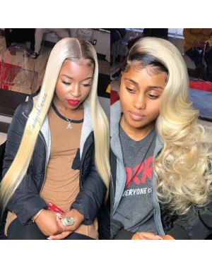 April-Pre plucked Brazilian virgin 1b/613 lace front wig