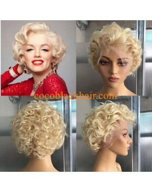Adah-613 short wave bob Brazilian virgin glueless lace front wig