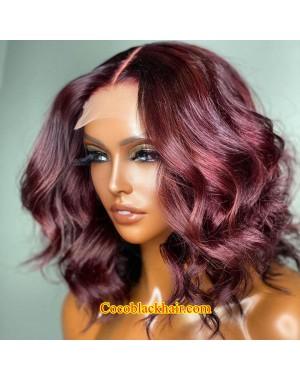 Angela 32-99j colored middle part bob style Brazilian virgin 5x5 HD lace closure wig