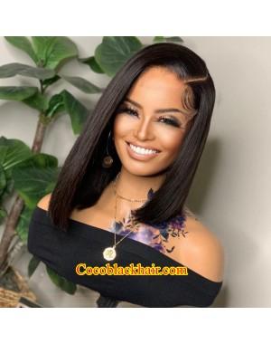 Angela 11-5x5 HD lace closure wig Straight asymmetric bob 10A grade Brazilian virgin human hair
