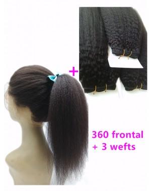 360 lace frontal with 3 wefts Brazilian virgin Italian yaki