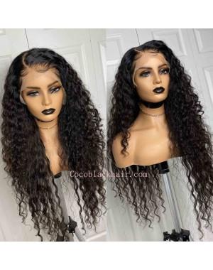 Nikki-Fake scalp lace front 13x6 wig Beachy Wave Brazilian virgin human hair Pre plucked hairline