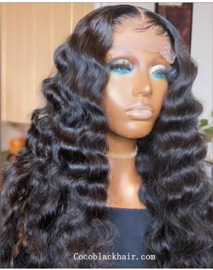 Angela 15-5x5 HD lace closure wig beachy wave 10A grade Brazilian virgin human hair