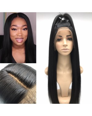 Bess- Brazilian virgin Yaki straight Full lace silk top wig