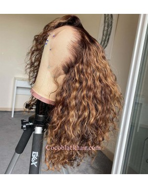 Nala-Soft curls brown highlights blonde Pre plucked lace wig