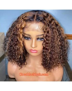 Jody18--brown highlights blonde curly bob 370 wig pre plucked Brazilian virgin human hair