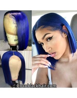 BOB14-Brazilian virgin blue color bob glueless lace front wig