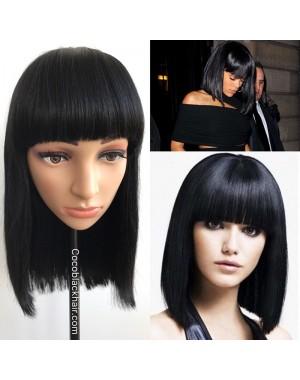 BOB03-Indian virgin blunt cut bob machine made wig with bangs