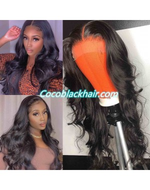 Jody03-body wave 370 wig pre plucked Brazilian virgin human hair