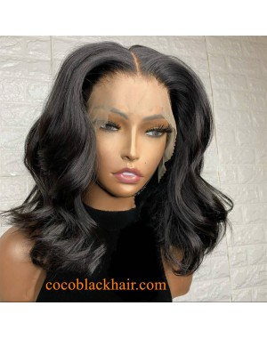 Emily61- bomb Body wave bob pre plucked Brazilian virgin 360 wig
