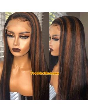 Angela 29-Brown highlights silk straight human hair 5x5 HD lace closure wig