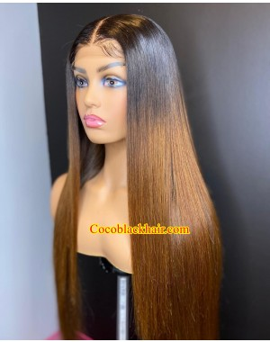 Emily90-Brazilian virgin Ombre Color Silk Straight Pre plucked 360 wig