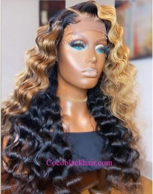 Emily81-Pre plucked 360 wig brown ombre wave Brazilian virgin human hair