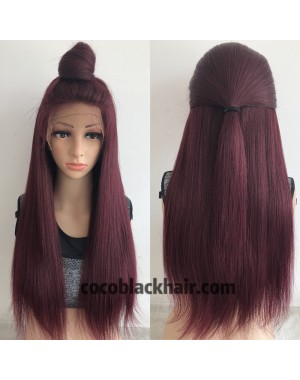 Zoey-Brazilian virgin burgundy color pre plucked full lace wig