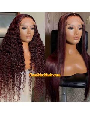Angela 33-Burgundy color 5x5 HD closure wig Brazilian virgin human hair Pre plucked