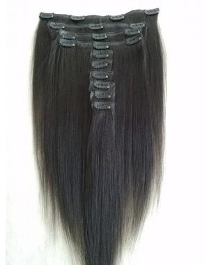 Brazilian virgin yaki straight Clips in hair extensions