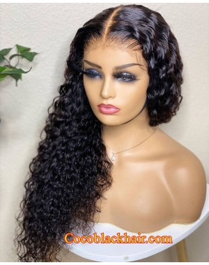 Angela 08-5x5 HD lace closure wig Deep Curly 10A grade Brazilian virgin human hair