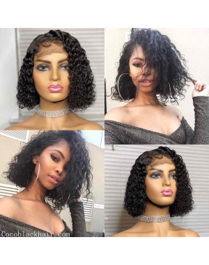 Emily27-Pre plucked deep curly bob 360 wig Brazilian virgin human hair