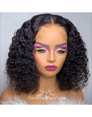 Angela 17-5x5 HD lace closure wig middle parting curly bob 10A grade Brazilian virgin human hair