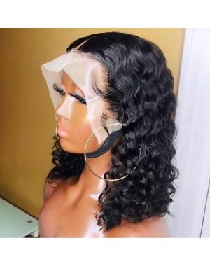 Emily74-Brazilian virgin deep wave bob 360 wig pre plucked bleached knots