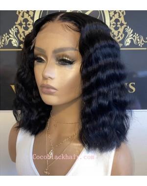 Emily79-pre plucked deep wave BOB 360 wig 10A grade Brazilian virgin human hair
