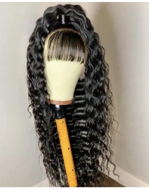 Emily54-Pre plucked deep wave with bangs Brazilian virgin 360 wig