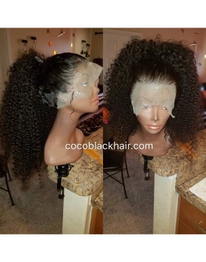 Emily12-Brazilian virgin kinky curly 360 lace frontal wig