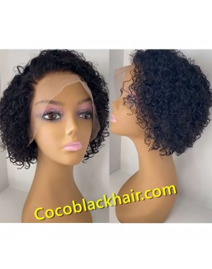 Martha-Pre plucked Brazilian exotic curly bob 150% density glueless lace front wig