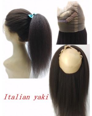 Brazilian Virgin Italian Yaki Kinky straight 360 Lace Frontal