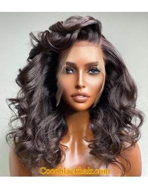 Danny-Brazilian virgin loose wave full lace wig Natural color pre plucked hairline
