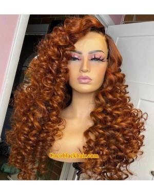 Angela 35-Ginger color loose wave 5x5 HD lace closure human hair wig