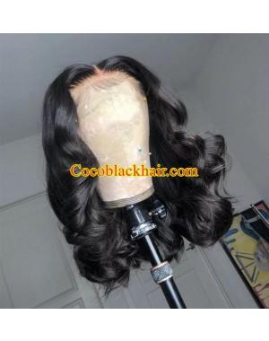 Angela 10-5x5 HD lace closure wig middle parting wave bob 10A grade Brazilian virgin human hair