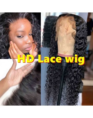 """Laila-HD Lace Wig Deep Curly Pre plucked Brazilian 150% density glueless 6"""" lace front wig"""