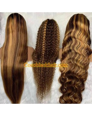 Keyla-highlight brown pre plucked 13*6 lace front wig Brazilian virgin human hair
