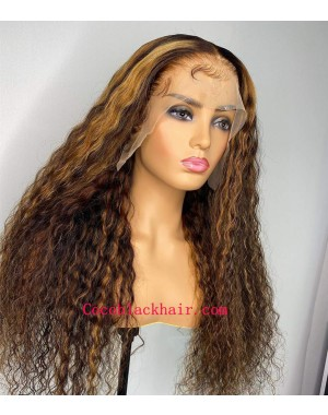 Kizzy-highlight color hair wet wave pre plucked lace wig 100% Brazilian virgin human hair