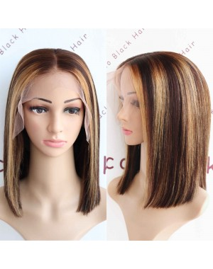 BOB17-Hightlights bob glueless lace front 13x6 wig yaki mixed Italian yaki Brazilian virgin hair