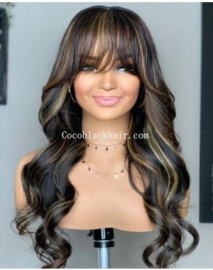 Angela 38- 5x5 HD lace closure wig Highlights loose wave Brazilian virgin human hair