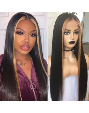 Emily72-highlight natural straight Pre plucked 360 wig Brazilian virgin