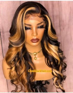 Angela 36-Honey blonde highlights loose wave 5x5 HD lace closure wig Brazilian virgin human hair