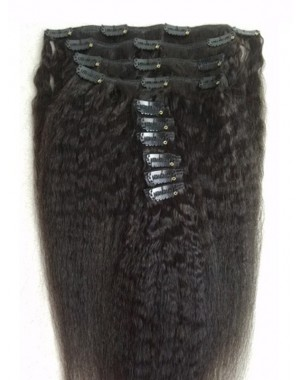 Virgin remy Italian yaki Clips in hair extensions