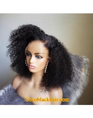 Emily87-Kinky curl bob 360 wig Pre plucked hairline Brazilian virgin human hair bleached knots