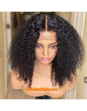 Nova 09-Kinky curls Brazilian virgin 13x6 wig glueless lace front Pre plucked