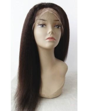 Olga-Kinky straight glueless lace front silk top wig