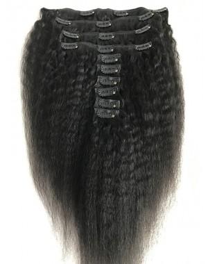 Brazilian virgin kinky straight Clips in hair extensions