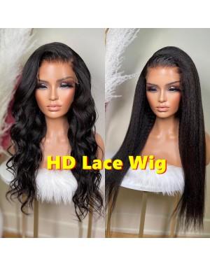 Nancy-HD Lace Kinky Straight 13x6 lace front wig Brazilian virgin hair Pre plucked