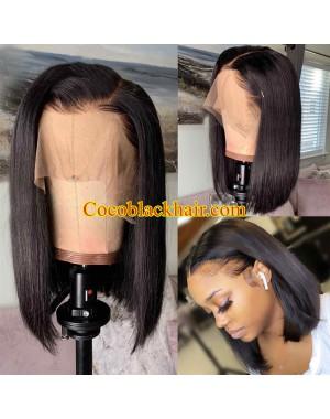 Bose-Pre plucked blunt cut bob 13x6 wig Brazilian virgin human hair
