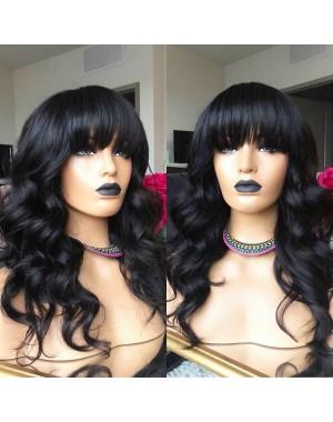 Emily69-Pre plucked Brazilian virgin loose ocean wave 360 wig with bangs
