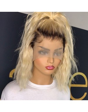 BOB15-Brazilian virgin 1b/ 613 wave bob glueless lace front wig