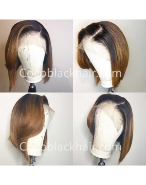 Freya-Pre plucked Indian virgin ombre color short bob glueless 13x6 lace front wig